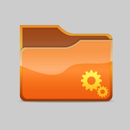 a blue  folder icon with gears Stock Photo - 16484463