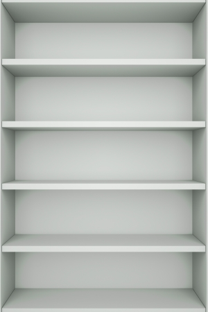 a bookcase with empty bookshelfs photo