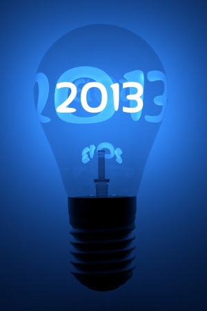 a creative 2013 concept with lightbulb Stock Photo - 16684686