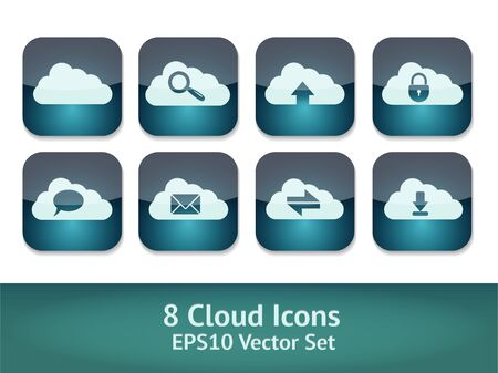 set cloud icons Stock Vector - 16820680