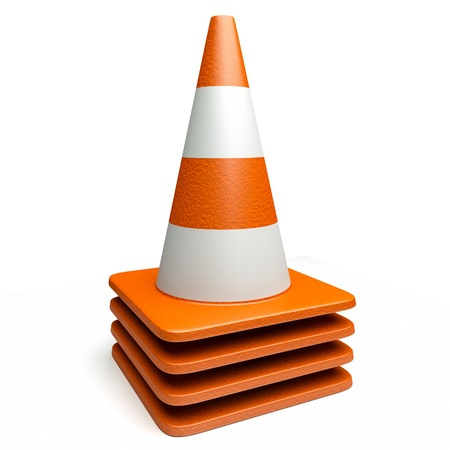 redirect: a 3d render of heap of road cones isolated on white