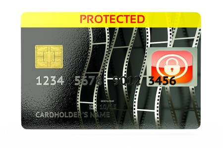 a 3d concept of protection finances, credit card with padlock inside photo