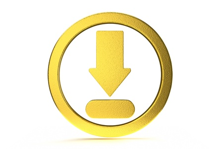 a download arrow in a circle, 3d icon photo