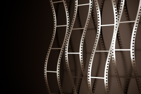old movies: a 3d render of film reel background