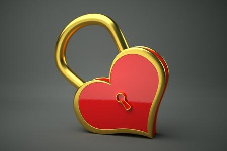 a creative idea with  lock in a heart shape Stock Photo - 17124375