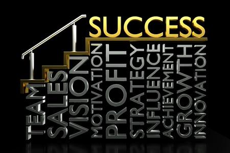 Úspěch: 3d vykreslování kreativního úspěchu konceptu, schody k úspěchu