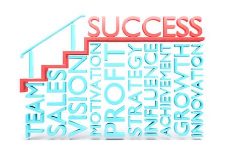 la union hace la fuerza: un render 3D de concepto creativo de éxito, escalera hacia el éxito
