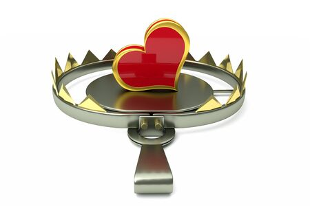 a 3d render of metal trap with red heart as a creative idea, love concept Stock Photo - 17124333