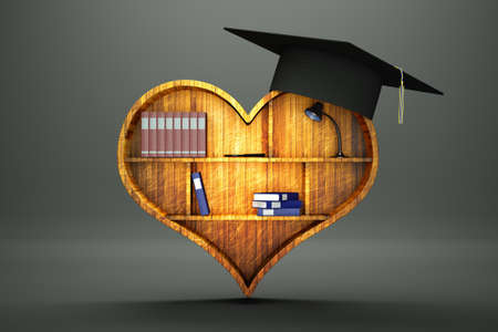 a heart as a  bookshelf, creative idea, love to education concept  photo