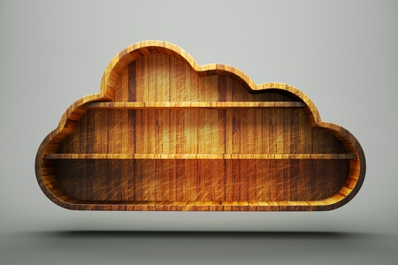 a wooden cloud, cloud computing concept photo