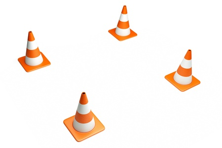 boundaries: a creative 3d render of road cone