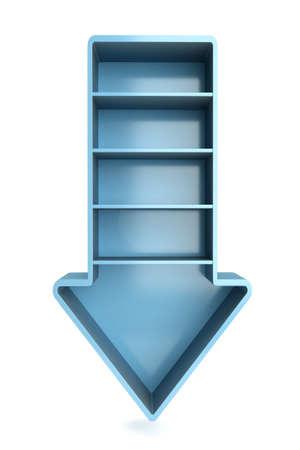 a 3d render of download arrow as a bookshelf Stock Photo - 17459512