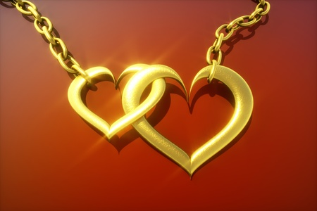 a creative 3d render of gold pendant with two hearts photo
