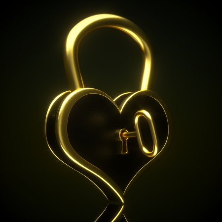 golden heart: a creative 3d render of padlock in a heart shape with key