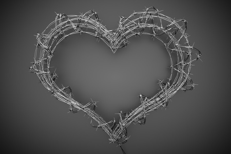 barb: a 3d barbed wire heart, creative teen love concept Stock Photo