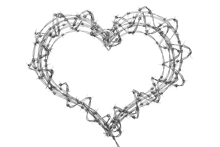 emotional freedom: a 3d barbed wire heart, creative teen love concept Stock Photo