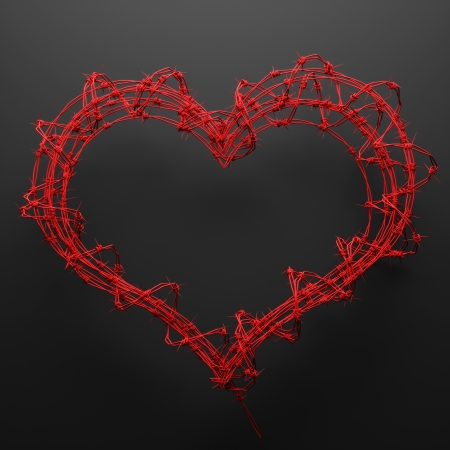 gaol: a 3d barbed wire heart, creative teen love concept Stock Photo