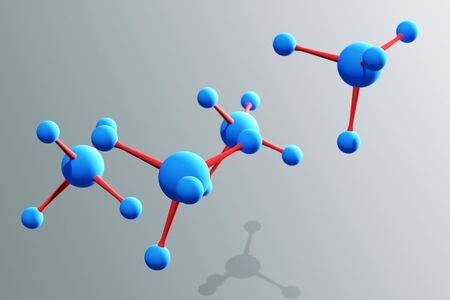 organic chemistry: a 3d render of molecules Stock Photo