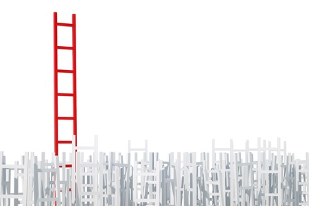 red competition: a competition concept with ladders, 3d render