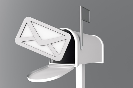 await: a 3d render of mailbox with envelop icon inside