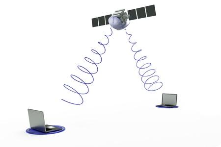 satellite: a satellite with two laptops on white