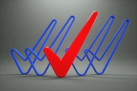 acceptance: a vote marks isolated on grey Stock Photo