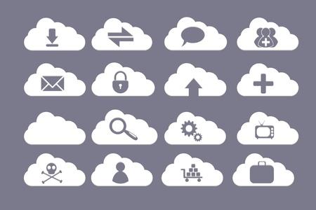 een creatieve wolk set met schedel, versnellingen, slot, tv, tekstballon, pijlen, vergrootglas, zak, man adn plus