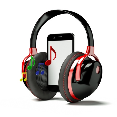 bass player: a 3d  render of pda with headphones and note Stock Photo