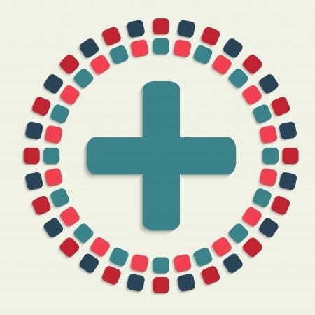 plus icon: creative vector mosaic icon