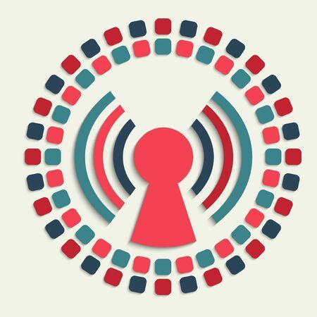 communications equipment: creative vector mosaic icon