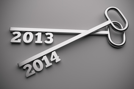 a 2013 - 2014  concept on grey, 3d render Stock Photo - 21706372