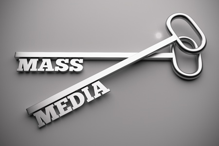 3d render of mass media concept with key photo