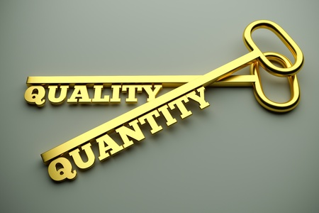 Quality Or Quantity concept with keys Stock Photo - 21912386