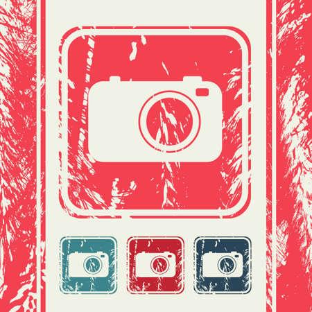 digital slr: a creative icon in grunge style Illustration