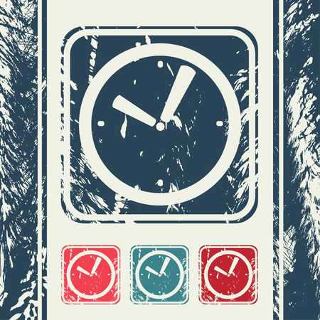 o'clock: a creative icon in grunge style Illustration