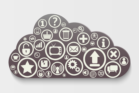 database security: Cloud Computing concept background with icons: lock, gears, reitings, basket, bubbles, mail, downloads, social network group Illustration