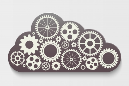 cogs and gears: cloud with gears Illustration