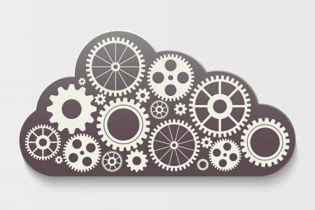 wolk met versnellingen Stock Illustratie