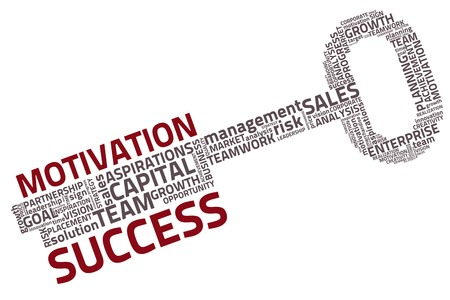 key to success: key with business words