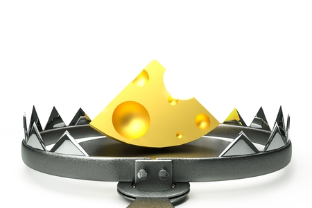 endangerment: a 3d render of trap with cheese inside