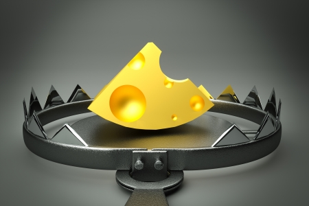 mouse trap: a 3d render of trap with cheese inside