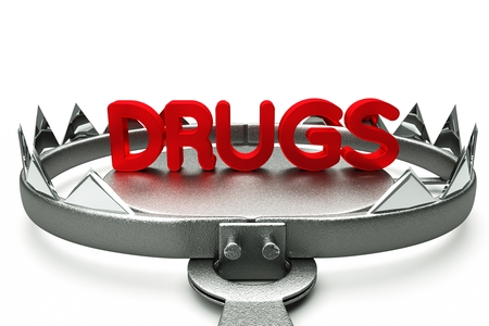 Risk Free: Drugs pills in mousetrap isolated on white background 3D Render Stock Photo