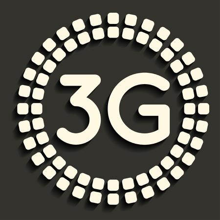 3g: Icono 3G en estilo oscuro Vectores