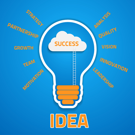 key success: business success concept  with cloud and ladders inside the light bulb, eps10 vector background