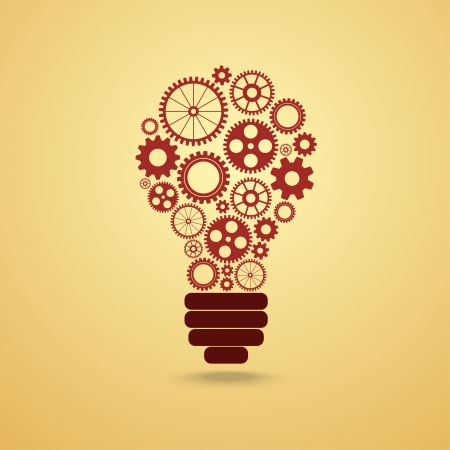 light bulb with gears and cogs working together Ilustração