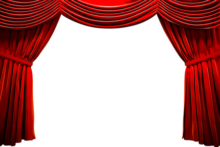 red stage curtain: Red curtain  in a theater, ad concept with empty space
