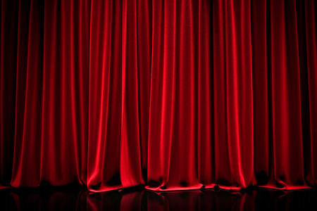 celebrity: Red closed curtain  in a theater Stock Photo