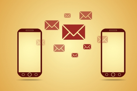 texting: mobile phones with mails, vector technology concept