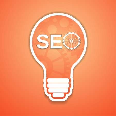 webmaster website: a seo concept with bulb and gears