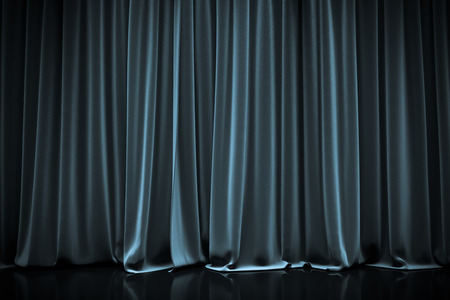 blue closed curtain in a theater